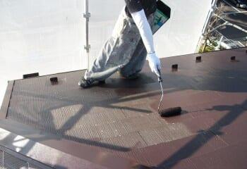 屋根塗装工事 中塗り