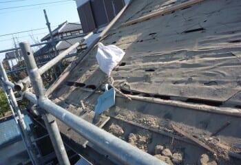 既存瓦撤去 土葺き屋根