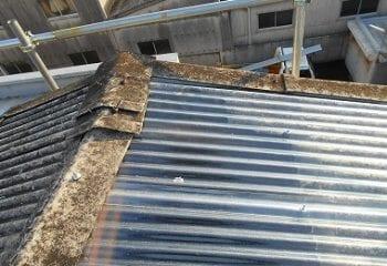 工場屋根の改修工事 現場調査