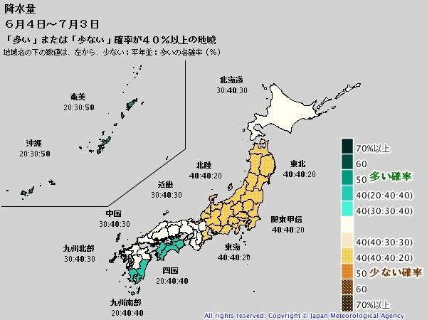 2016年梅雨の降水量