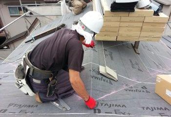 屋根材本体張り開始