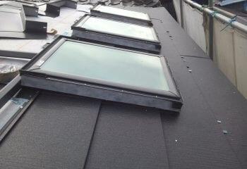 天窓まわりの板金・屋根本体張り