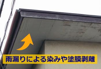雨漏りによる軒天のシミ