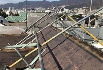 屋根足場の組み立て