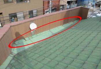 パラペット屋根のコーキング工事