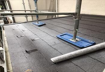 下屋根の施工開始