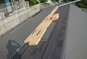 金属屋根工事開始