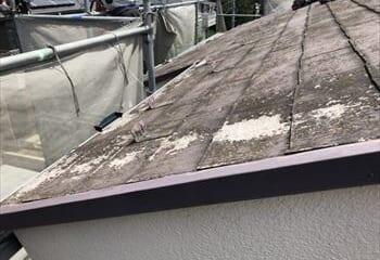 劣化した屋根の拡大画像