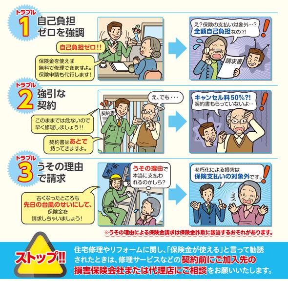 火災保険で多い代表的な3つのトラブル(出典:日本損害保険協会)