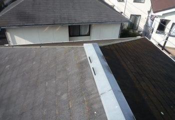 石粒付き鋼板屋根によるカバー工法の施工前写真