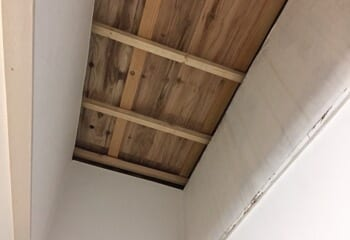 下屋根に野地板を張り付ける