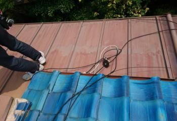 現場調査 瓦屋根とトタン屋根が接合した屋根