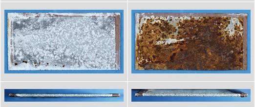 試験後 左がエスジーエル鋼板 右がガルバリウム鋼板