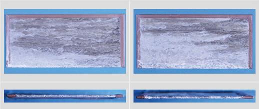 試験前 左がエスジーエル鋼板 右がガルバリウム鋼板