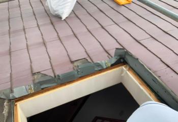 工事開始 雨漏りした天窓の撤去