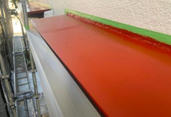 庇板金の塗装 (2)サビ止め塗装塗布