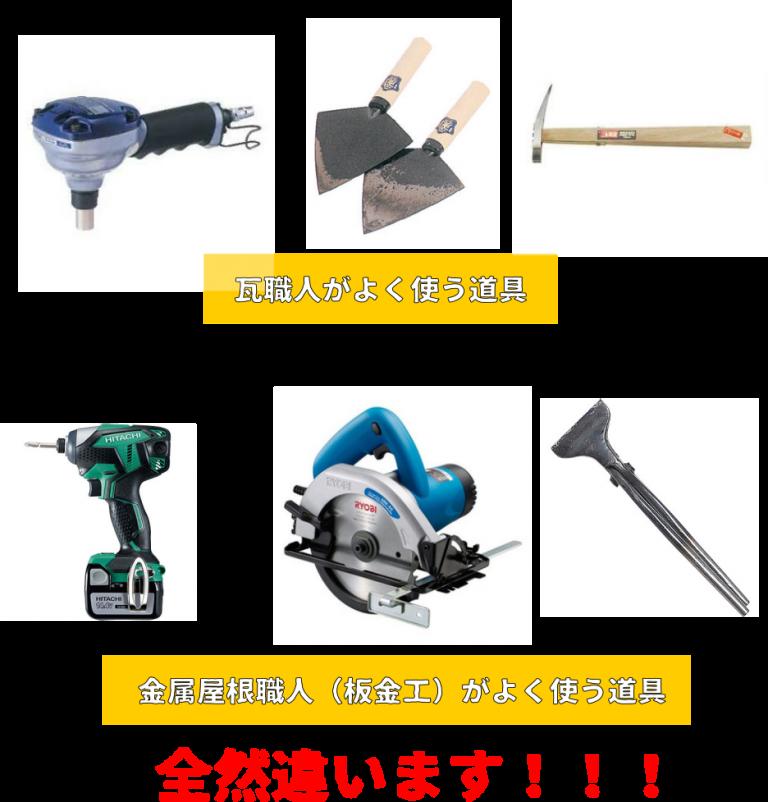 瓦職人と板金工が使う道具